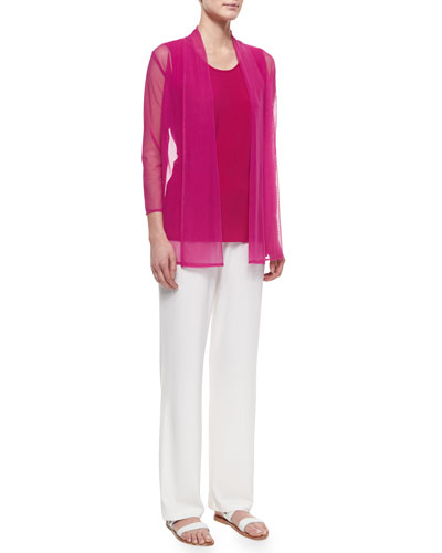 3/4-Sleeve Illusion Cardigan, Sleeveless Long Tank & Stretch-Knit Straight-Leg Pants, Petite
