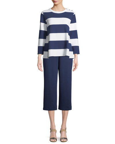 Striped Pullover Top & Cropped Cotton Interlock Pants, Petite