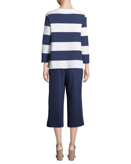 Cropped Cotton Interlock Pants, Plus Size