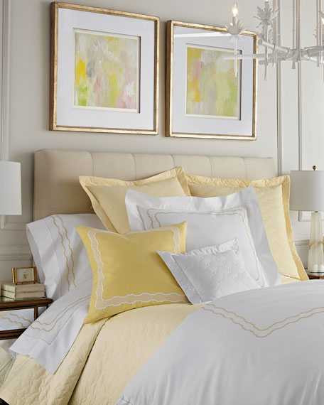 SFERRA King Embroidered Percale Duvet Cover