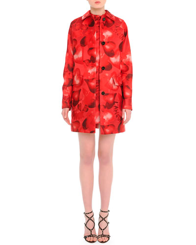 Heart-Print Brocade Mid-Length Coat & Heart-Print Tie-Neck Dress