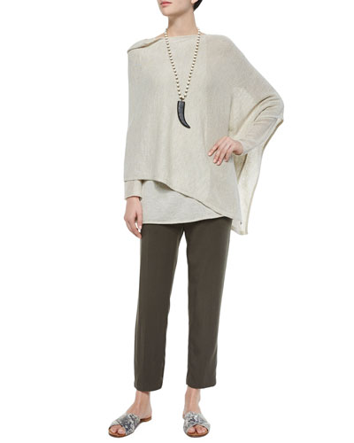 Washable Wool Mesh Poncho, Washable Long-Sleeve Mesh Tunic & Lightweight Twill Ankle Pants