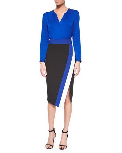 Tessa Silk Blouse & Doubleweave Colorblock Skirt