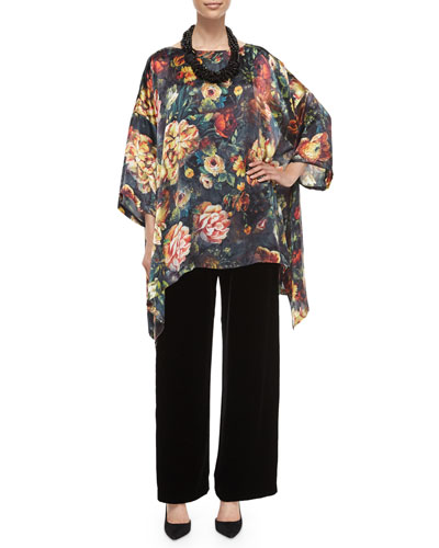Oil Paint Floral-Print Draped Top, Velvet Wide-Leg Trousers & Multi-Strand Mixed Beaded Necklace