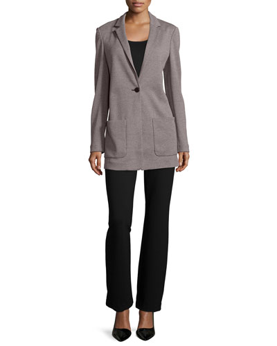 Birdseye Boyfriend Jacket, Cotton Interlock Tunic/Tank & Ponte Boot-Leg Pants