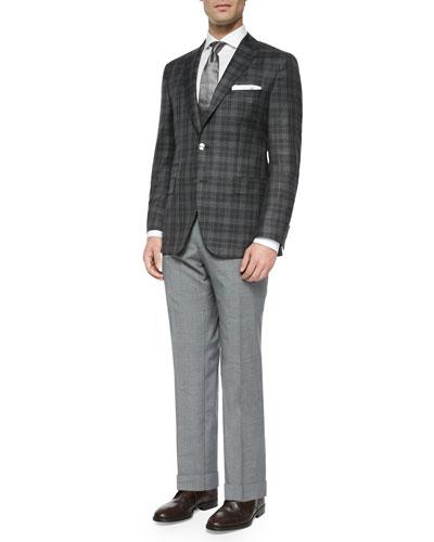 Windowpane Two-Button Sport Jacket, Jason Slim-Fit Textured Mini-Herringbone Dress Shirt, Solid Silk Tie & Solid Slim-Fit Wool Trousers