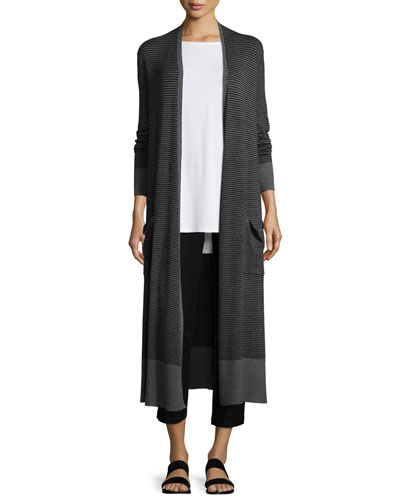 Striped Long Cardigan, Sleeveless Long Step Shell & Washable Stretch-Crepe Ankle Pants, Petite