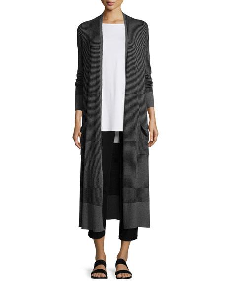 Eileen Fisher Striped Long Cardigan, Plus Size