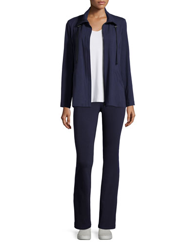 High-Collar Stretch Jersey Jacket, Sleeveless Scoop-Neck Tee & Stretch Jersey Yoga Pants, Petite