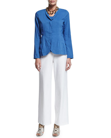 Eileen Fisher Shawl-Collar Peplum Jacket, Blue, Petite