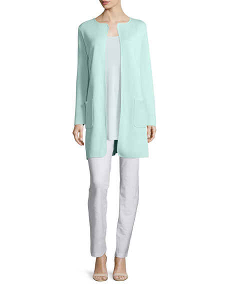 Eileen Fisher Silk Cotton Interlock Long Jacket, Green