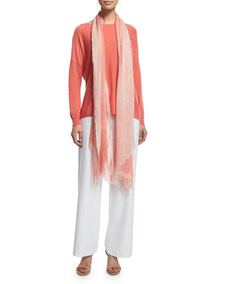 Eileen Fisher Modern Wide-Leg Stretch-Crepe Pants, White, Plus