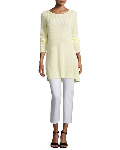 Eileen Fisher Shaker-Knit Organic Linen Sweater
