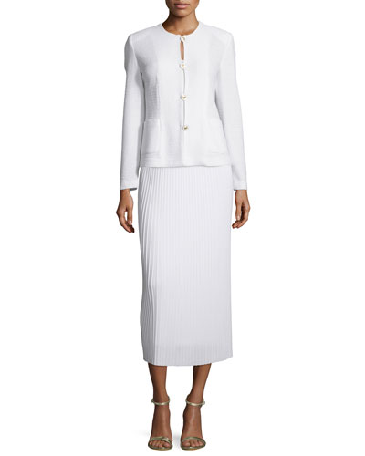 Button-Front Textured Jacket & Long Pleated Knit Skirt, Petite
