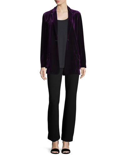 Velvet Button-Front Jacket, Soft Scoop-Neck Tank & Ponte Boot-Cut Pants, Petite
