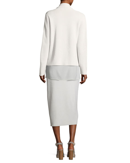 Shawl-Collar Draped Knit Jacket, Petite