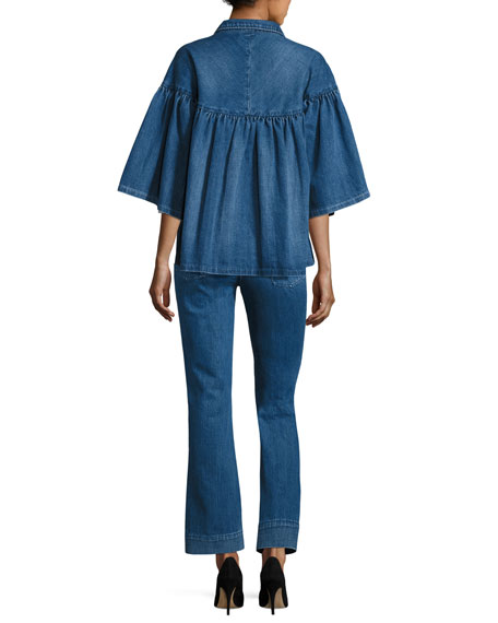 Flared-Sleeve Denim Jacket, Indigo