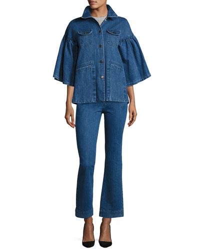 Flared-Sleeve Denim Jacket, Indigo and Matching Items