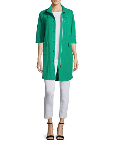 Stand-Collar Utility Jacket w/ Gold Snaps, White, Petite  and Matching Items