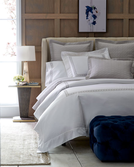 Full/Queen 3-Piece Cane-Embroidered Duvet Set