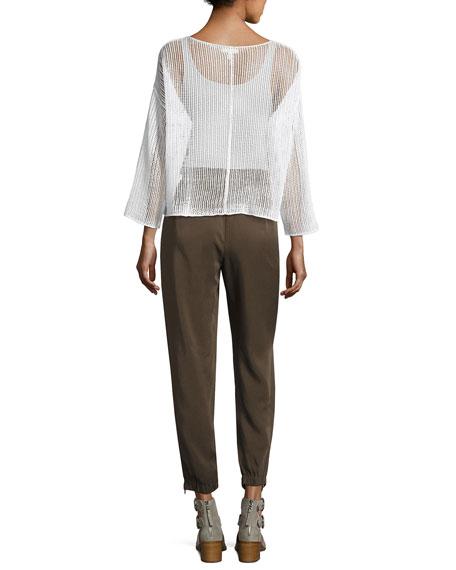Bracelet-Sleeve Knit Mesh Top