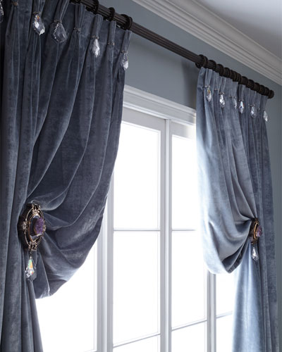 108L Velvet Curtain with Asfour Crystals  and Matching Items