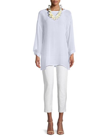 Side-Tie Sheer Silk Kimono Top
