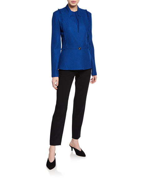 St. John Collection Gridded Texture Knit Jacket with Notch Collar & Fringe Trim