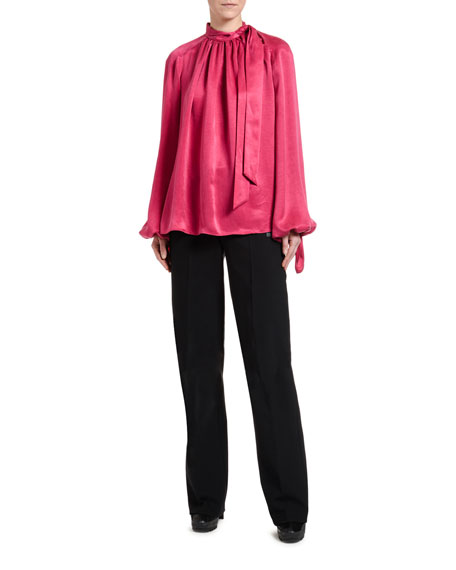 Off-White Flowing Satin Full-Sleeve Tie-Neck Blouse, Fuchsia