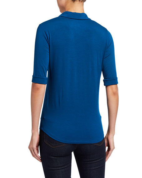 Image 4 of 5: Majestic Filatures Soft Touch 3/4-Sleeve Button-Down Tee