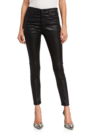 AG Adriano Goldschmied Farrah Leatherette High-Rise Ankle Skinny Jeans