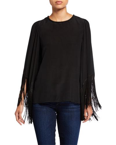 Joanie Crewneck Fringe-Sleeve Silk Blouse