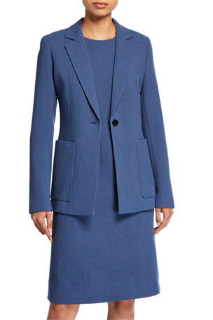 Lafayette 148 New York Nazelli Nouveau Crepe One-Button Jacket