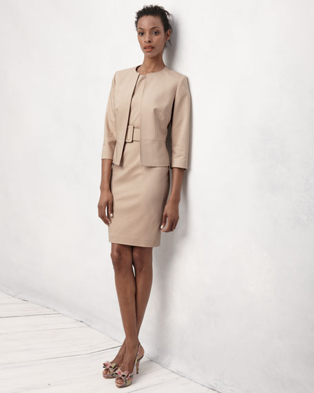 Albert Nipon Belted Sheath Dress & Jacket Set