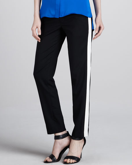 Contrast-Stripe Pants, Black