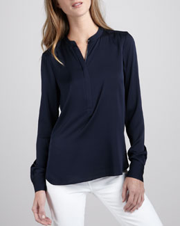 Vince Silk Zip-Placket Top