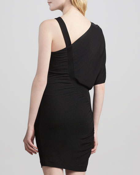 Gathered Asymmetric Jersey Dress