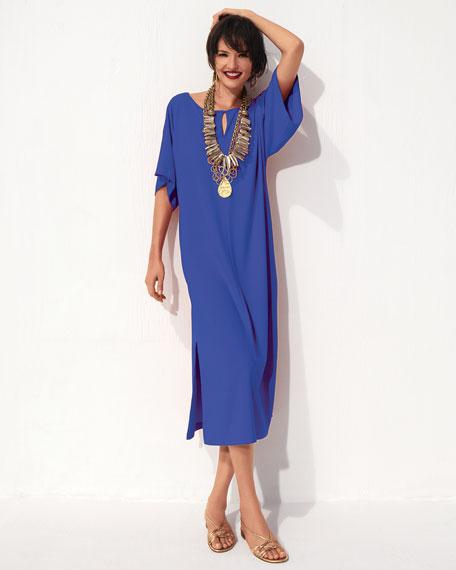 Keyhole-Detail Long Dolman Dress, Petite