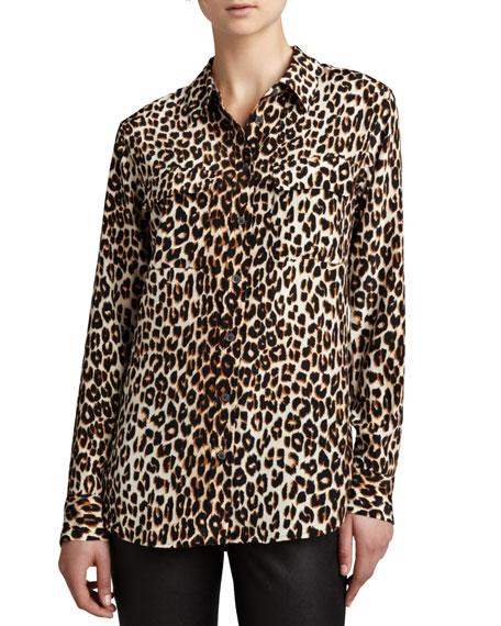 Equipment Slim Signature Leopard-Print Blouse