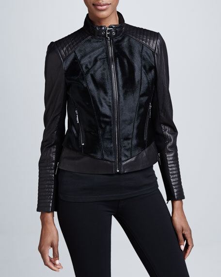 Mixed-Media Leather & Fur Moto Jacket