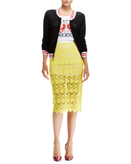 Angelica Sheer Lace Pencil Skirt