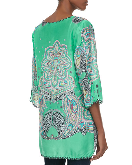 3/4-Sleeve Printed V-Neck Tunic, Plus Size