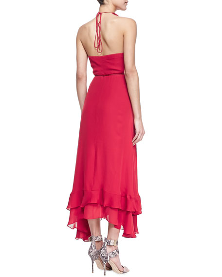 Lay Me Down Ruffled Halter Long Wrap Dress