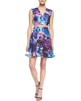 Nha Khanh Carressa Sheer-Waist Floral A-Line Dress