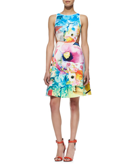 Fluorescent Rose Cutout Dress