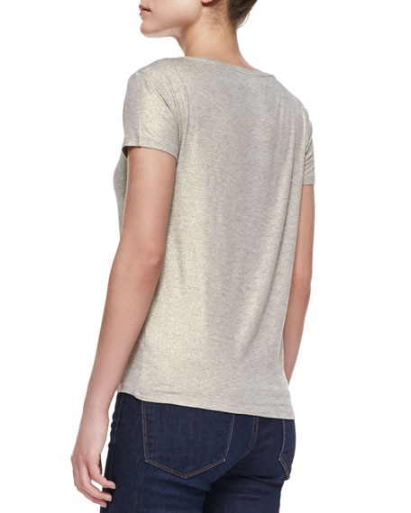 Soft Touch Short-Sleeve Metallic Crew