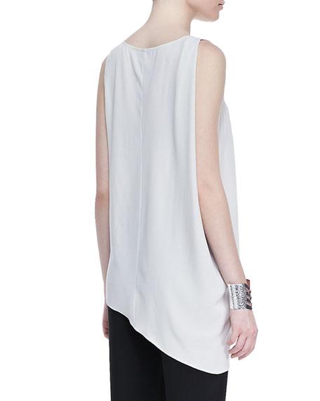 Silk Asymmetric Draped Shell, Petite, Bone