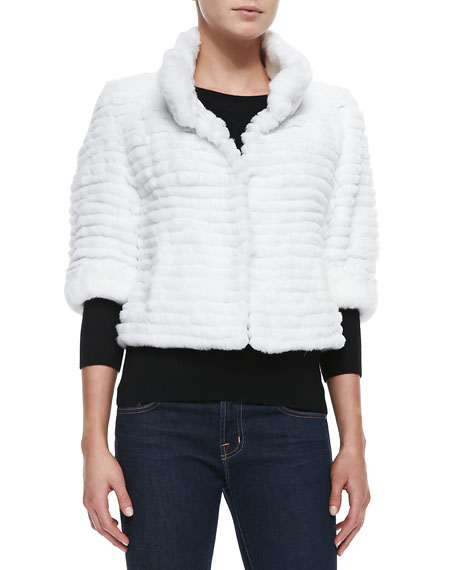 Belle Fare High-Collar Layered Fur Coat