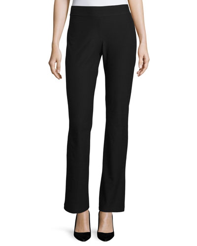 Washable-Crepe Boot-Cut Pants, Black