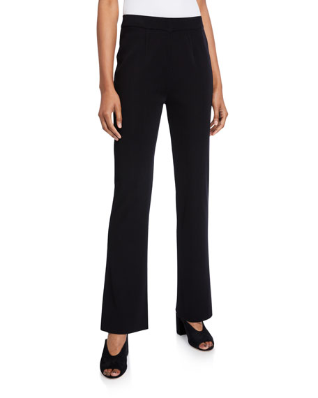 Misook Casey Boot-Cut Pants, Black